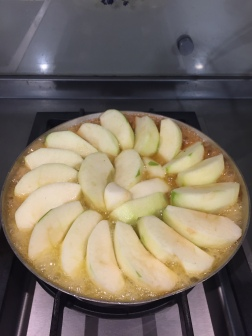 The delicious tarte-a-tatin being made.